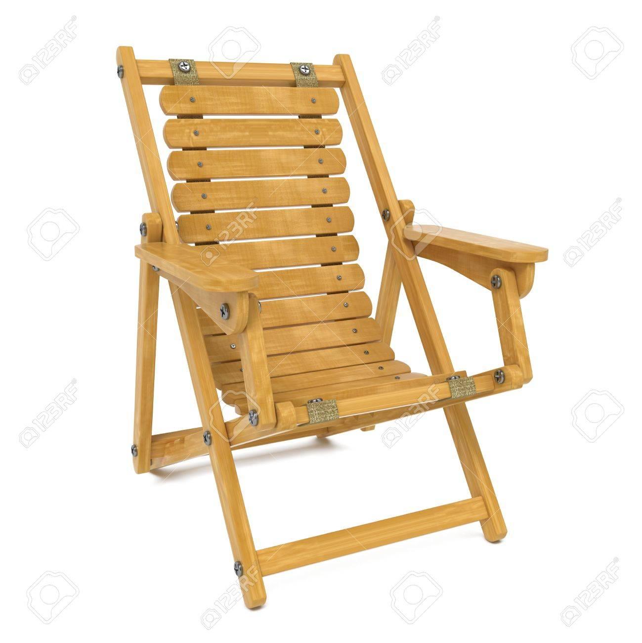 Chaise Longue Pliante En Bois Isol Sur Fond Blanc Banque DImages