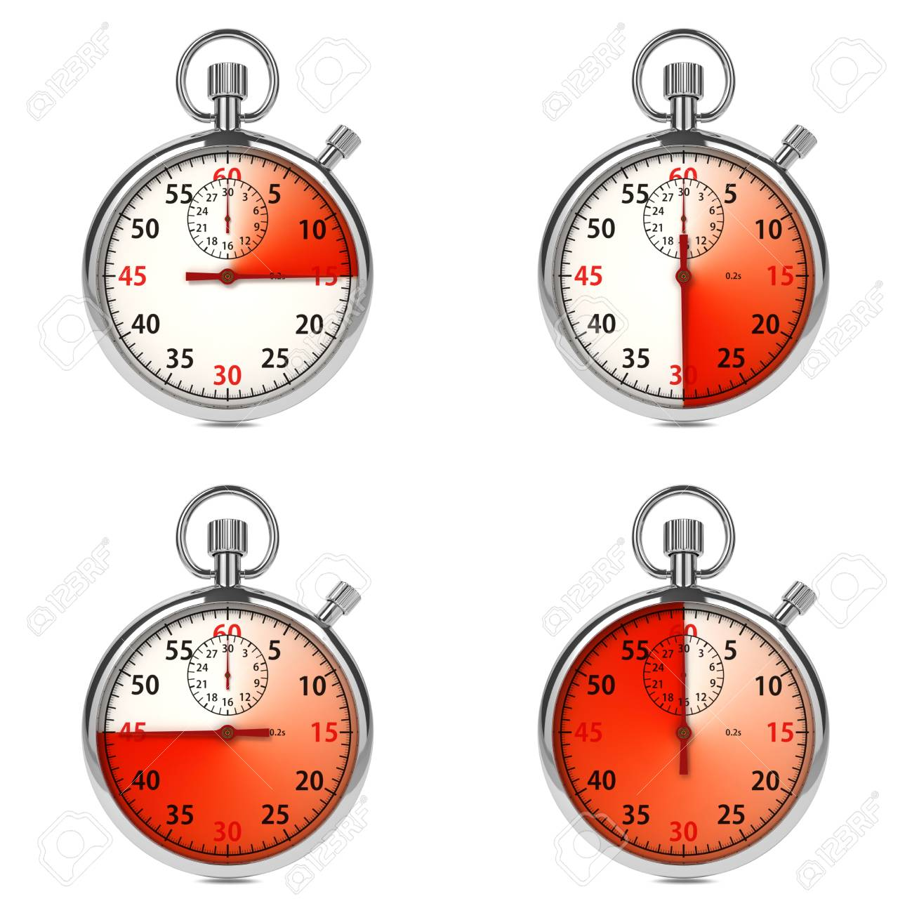 Stopwatch - Red Timers  Set on White Background Stock Photo - 16219319