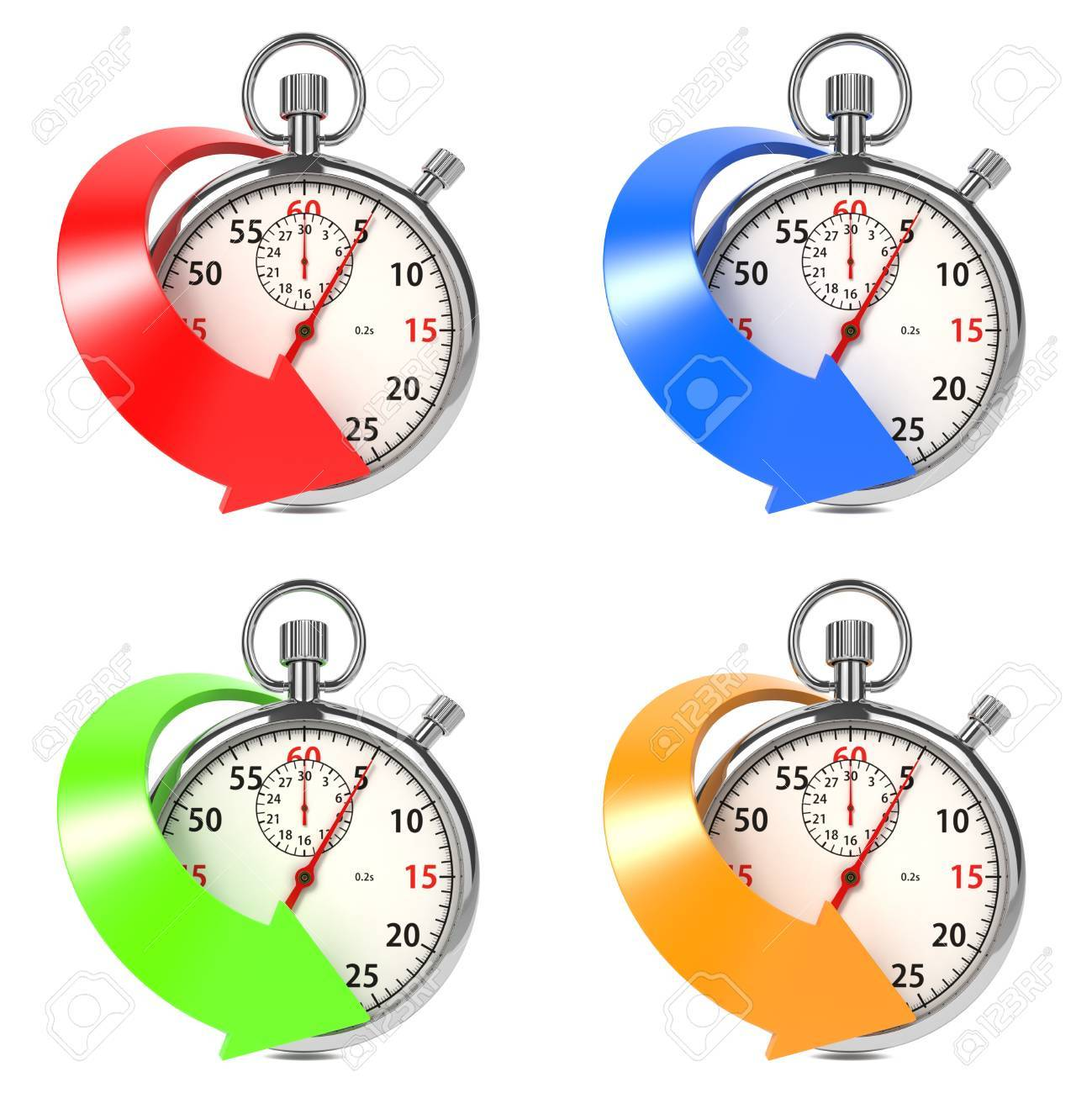 Stopwatch with Colored Arrow  Set from Four Images on White Background Stock Photo - 16219320