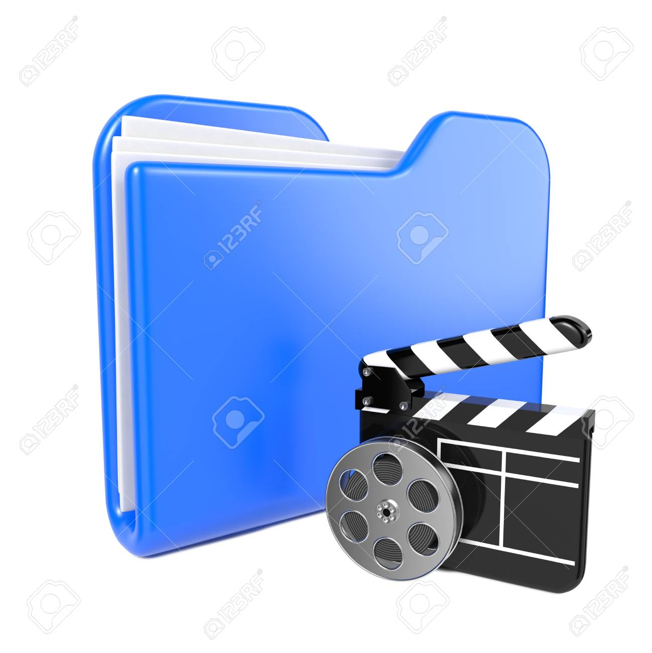 Blue Folder with Toon Clapper and Reel  Isolated on White Stock Photo - 17104576