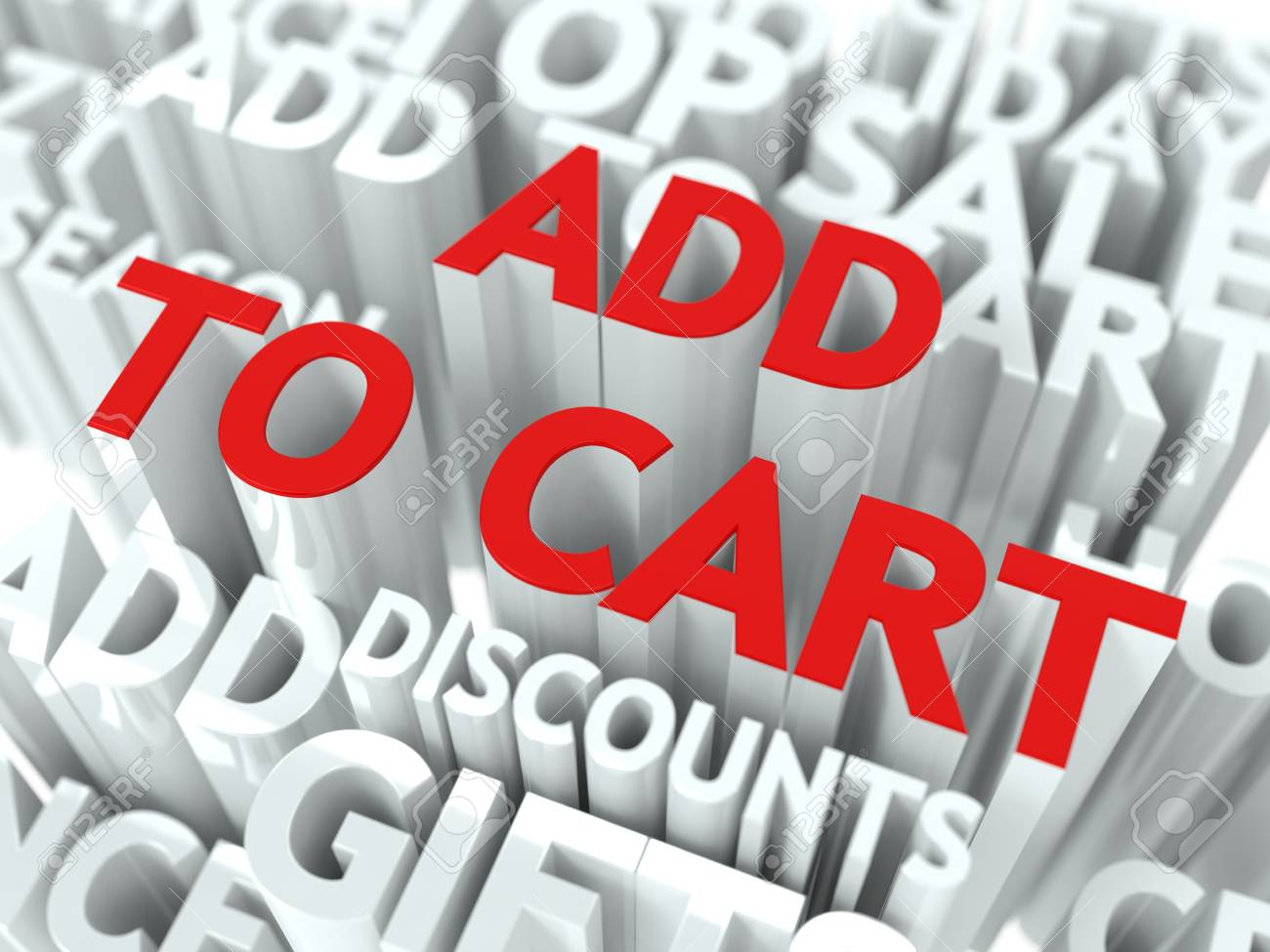 Add To Cart Concept  The Word of Red Color Located over Text of White Color Stock Photo - 17599454
