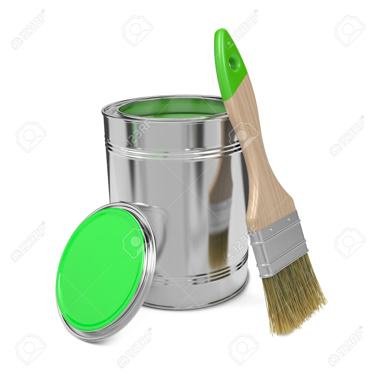 Paint Can with Green Paint and Paintbrush Isolated on White Background Stock Photo - 17972261