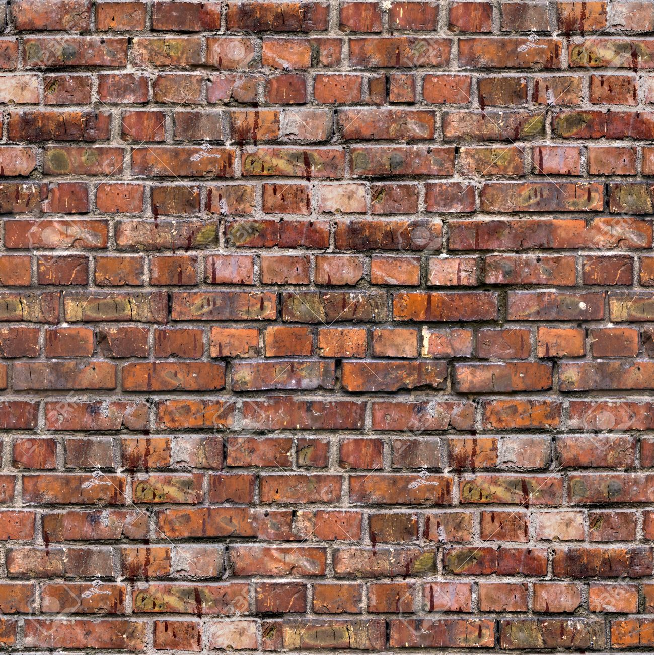 Brick Wall Old Dark Red Bricks With Cracks And Dirt Spots Seamless Tileable Texture Stock Photo