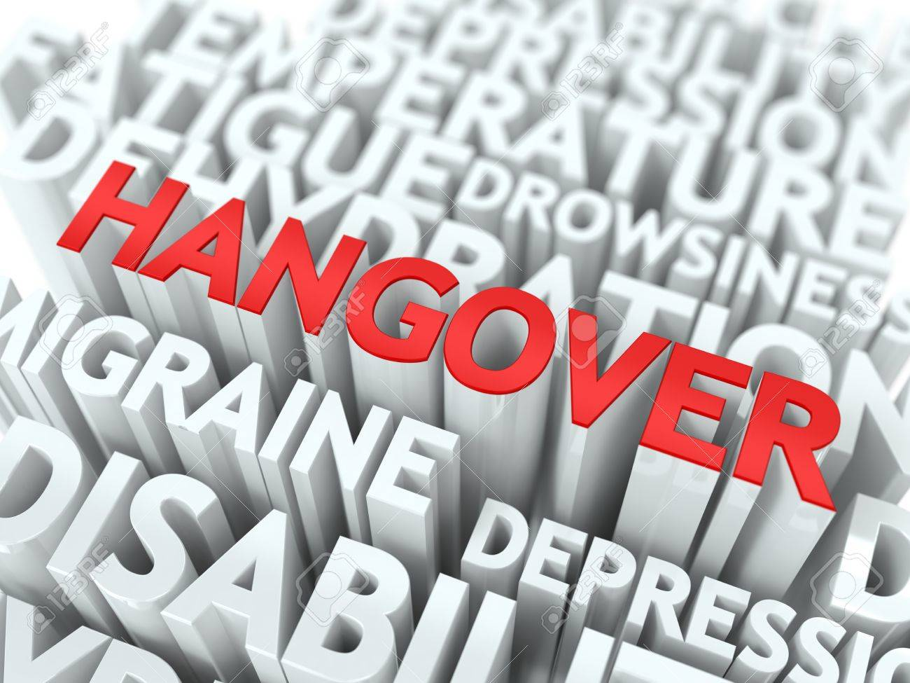 Hangover Concept  The Word of Red Color Located over Text of White Color Stock Photo - 18216005