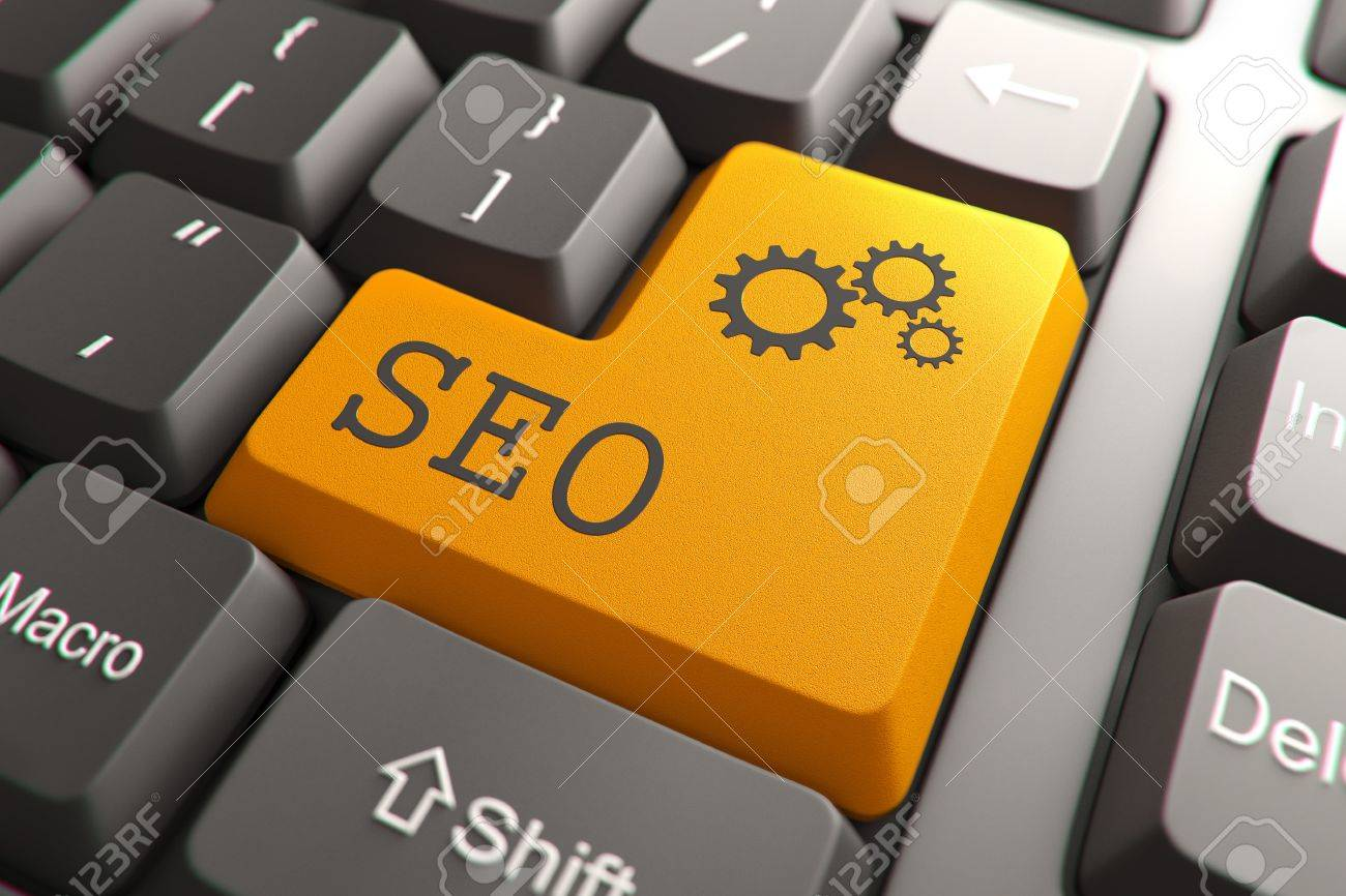 Seo, Orange Button on Computer Keyboard  Internet Concept Stock Photo - 18848437