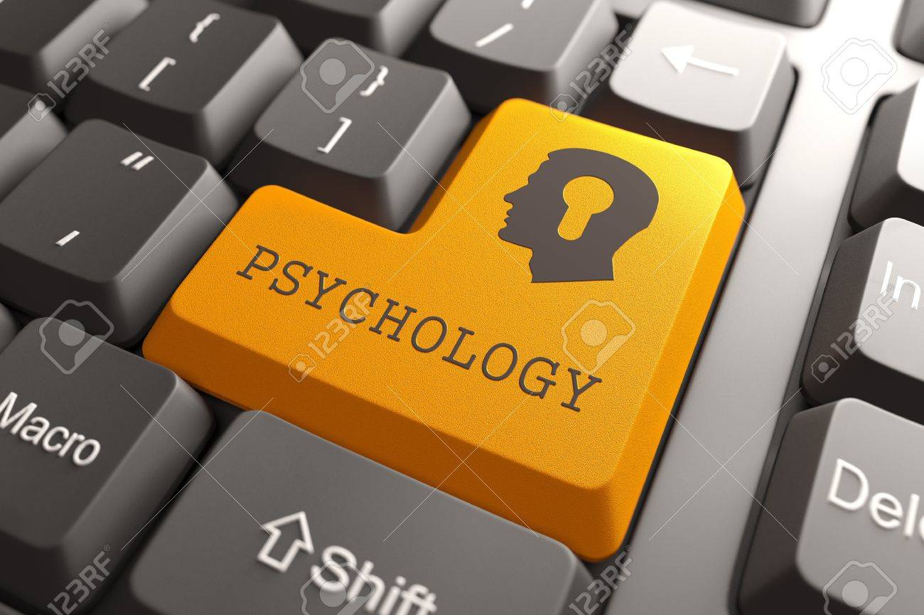 Orange Psichology Button on Computer Keyboard  Psychology Concept Stock Photo - 19339081