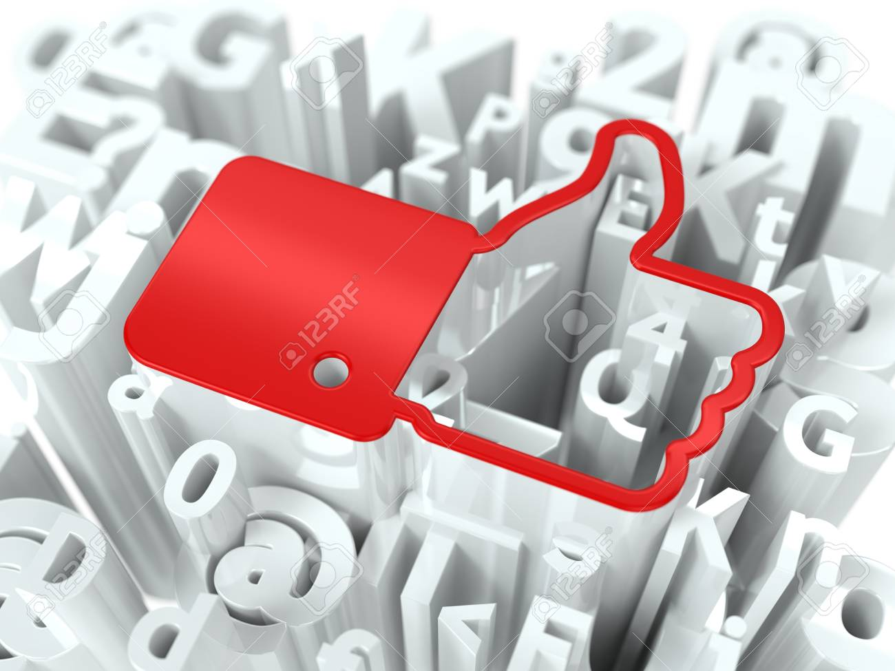 Red Thumb Up on Alphabet Background  Social Media Concept for Your Blog or Publication Stock Photo - 19974577