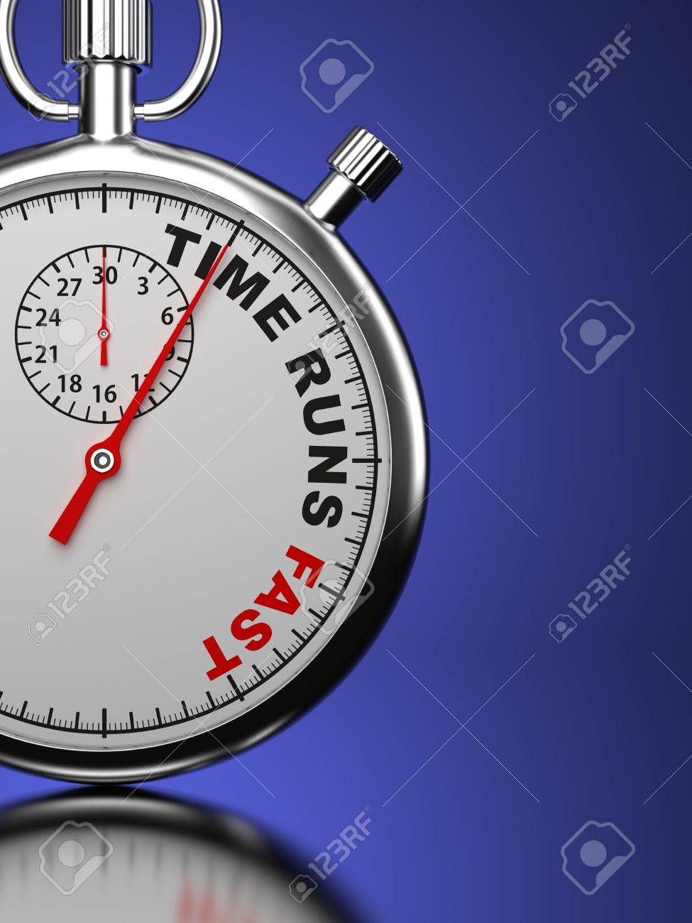 Time Runs Fast - Business Concept  Stopwatch with  Time Runs Fast  slogan on a blue background  3D Render Stock Photo - 21362071