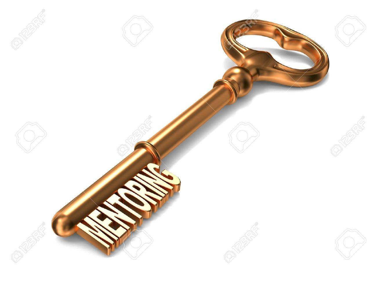 With golden key 3d rendering plan concept with golden key 3d rendering - Mentoring Golden Key On White Background 3d Render Business Concept Stock Photo