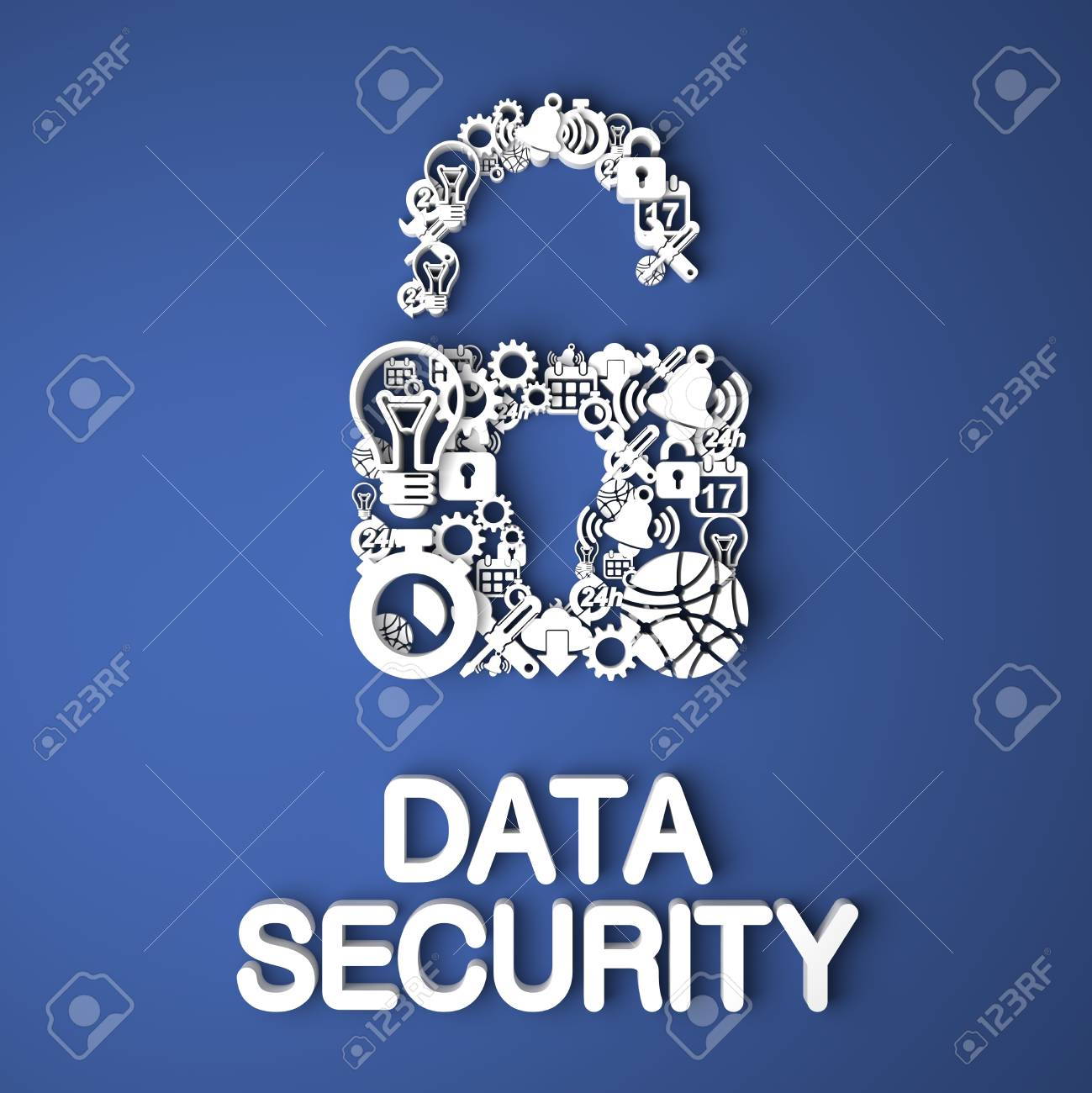 Data Security Card Handmade from Paper Characters on Blue Background. 3D Render. Business Concept. Stock Photo - 21362108