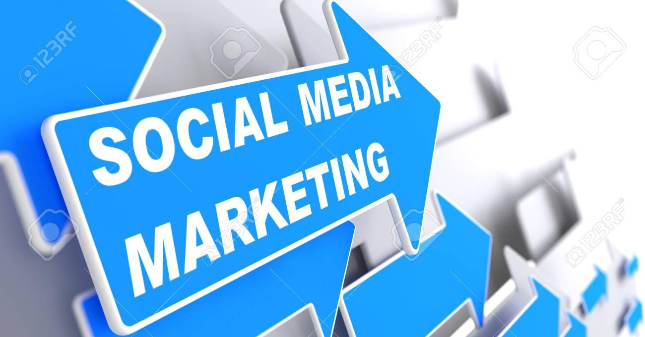 Social Media Marketing.  Business Concept. Blue Arrow with