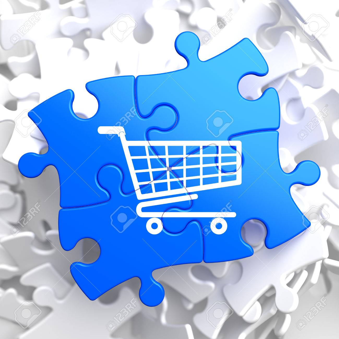 Icon of Shopping Cart on Blue Puzzle. Stock Photo - 23459197