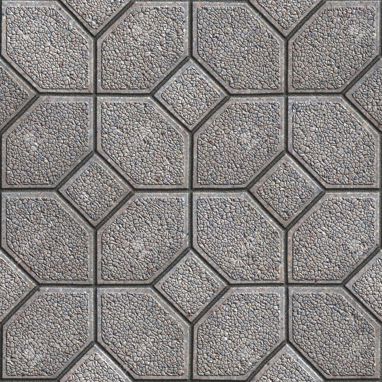 gray granular pavement of four hexagons around the square seamless