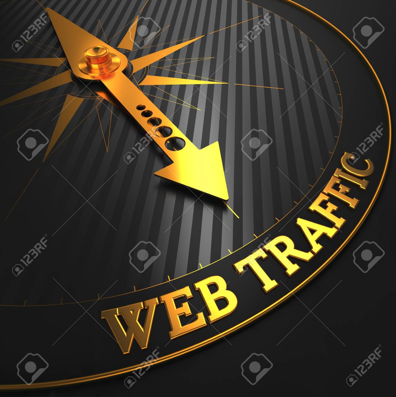 Web Traffic - Golden Compass Needle on a Black Field Pointing. Stock Photo - 26339695