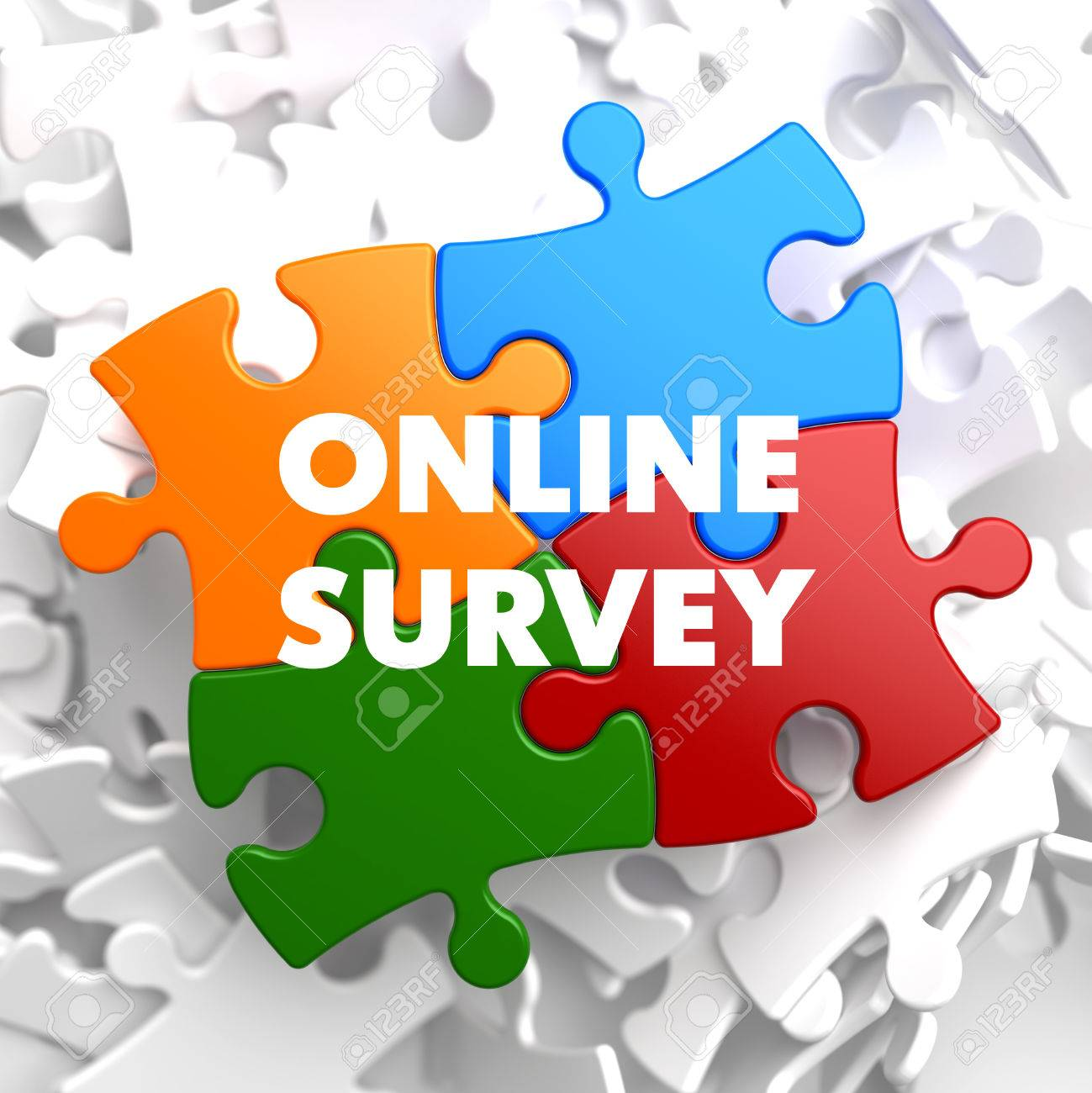 online survey on multicolor puzzle on white background stock