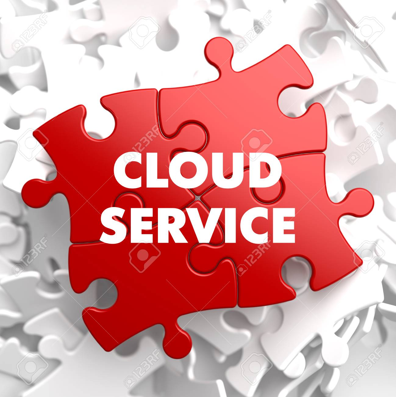 Cloud Service on Red Puzzle on White Background. Stock Photo - 27085419