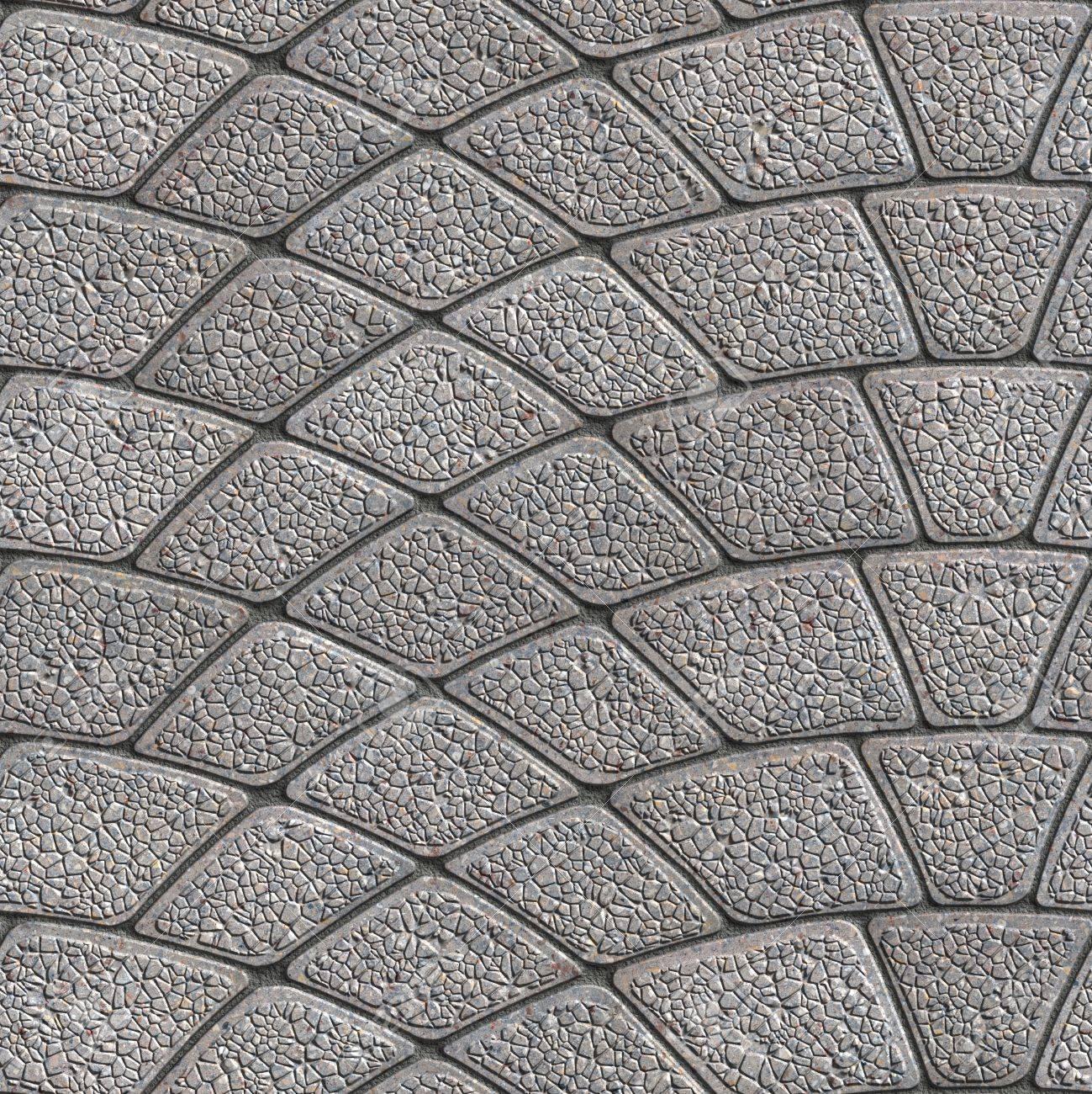 concrete gray granular pavement laid as semicircle seamless stock