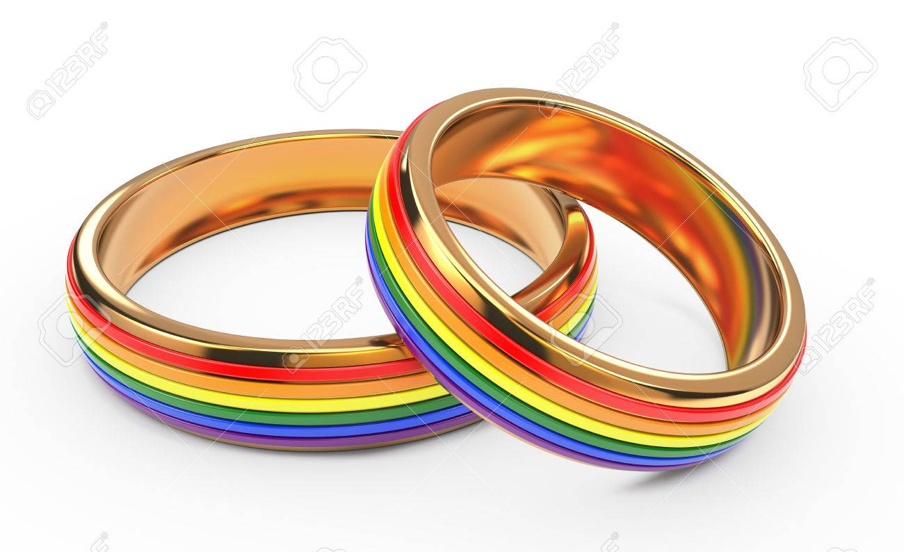gay wedding rainbow rings isolated on white background stock photo 31958017 - Gay Wedding Ring