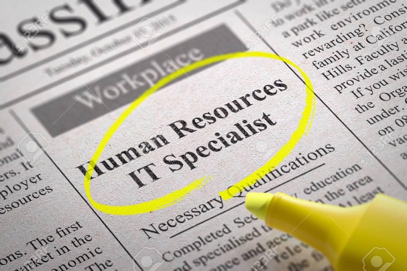 human resources it specialist vacancy in newspaper job seeking human resources it specialist vacancy in newspaper job seeking concept stock photo 33425492