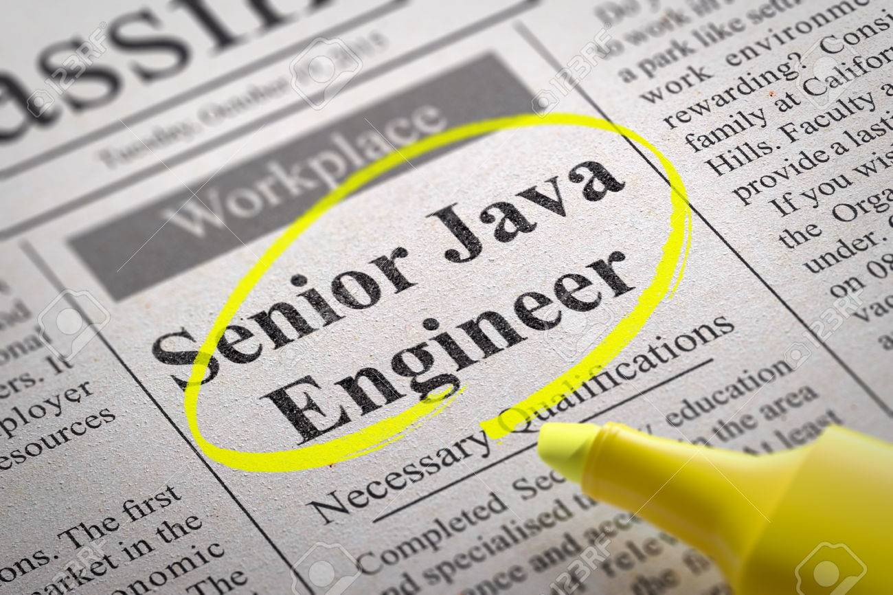 senior java engineer vacancy in newspaper job seeking concept senior java engineer vacancy in newspaper job seeking concept stock photo 33425500