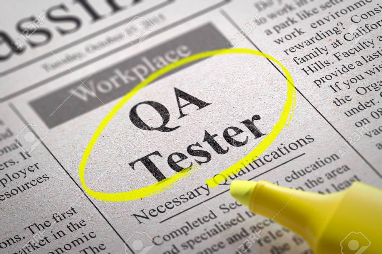 qa tester jobs in newspaper job seeking concept stock photo qa tester jobs in newspaper job seeking concept stock photo 35432488