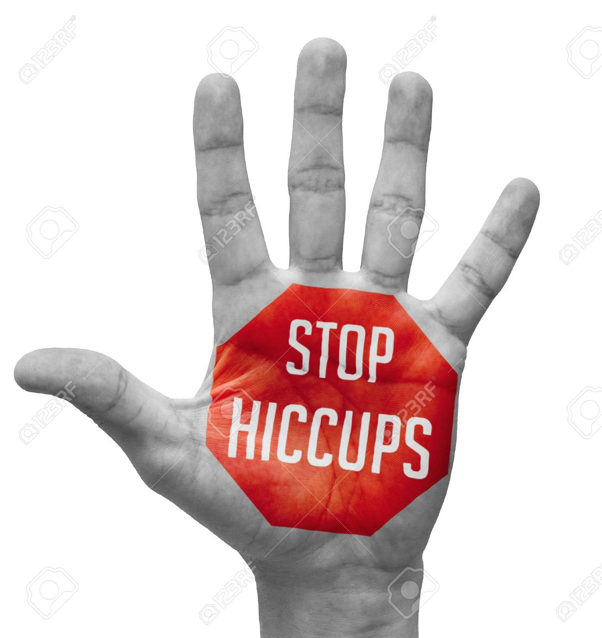 Stop Hiccups - Red Sign Painted - Open Hand Raised, Isolated on White Background. - 36558017