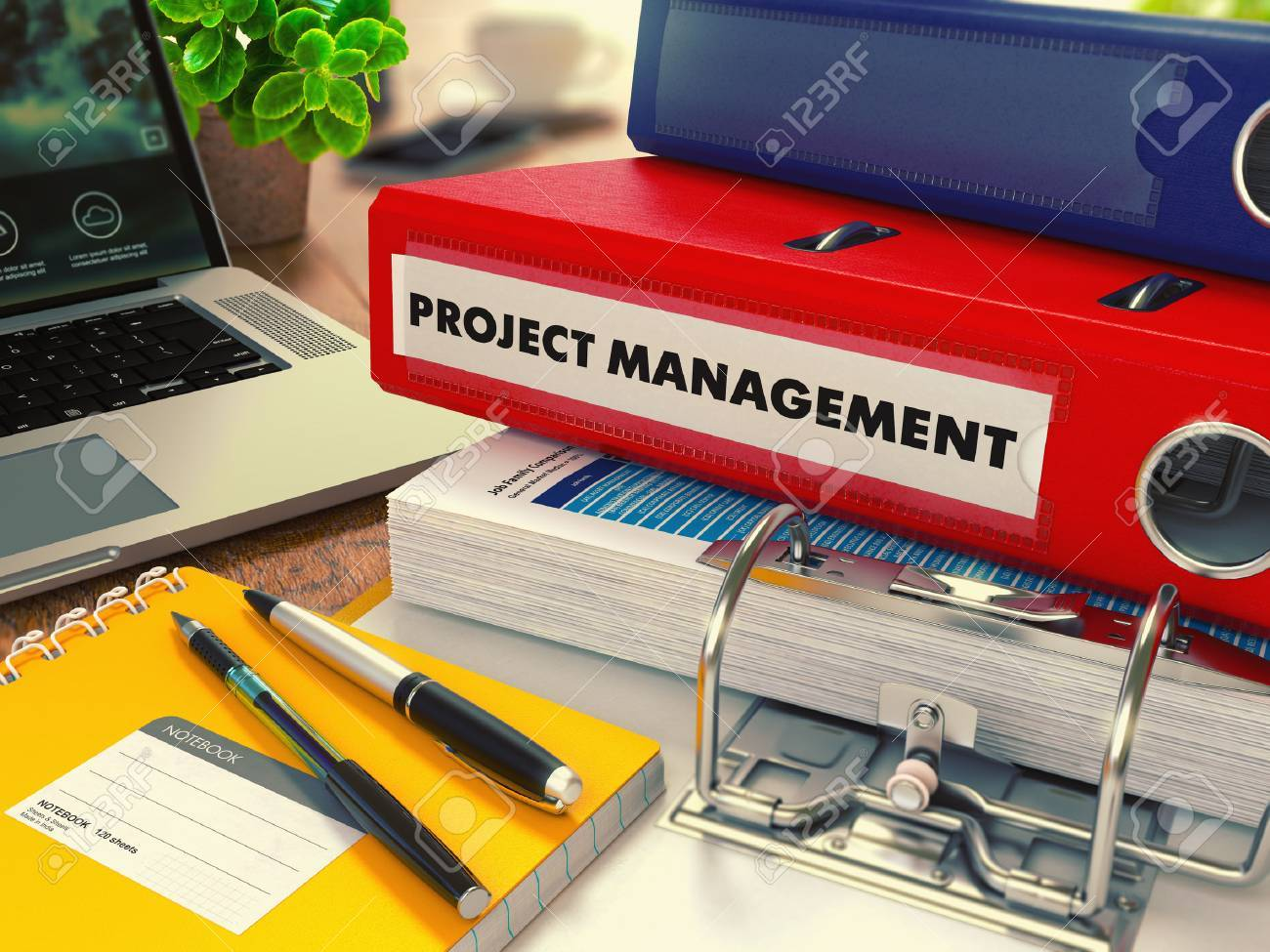 Red Office Folder with Inscription Project Management on Office Desktop with Office Supplies and Modern Laptop. Business Concept on Blurred Background. Toned Image. Standard-Bild - 43876256