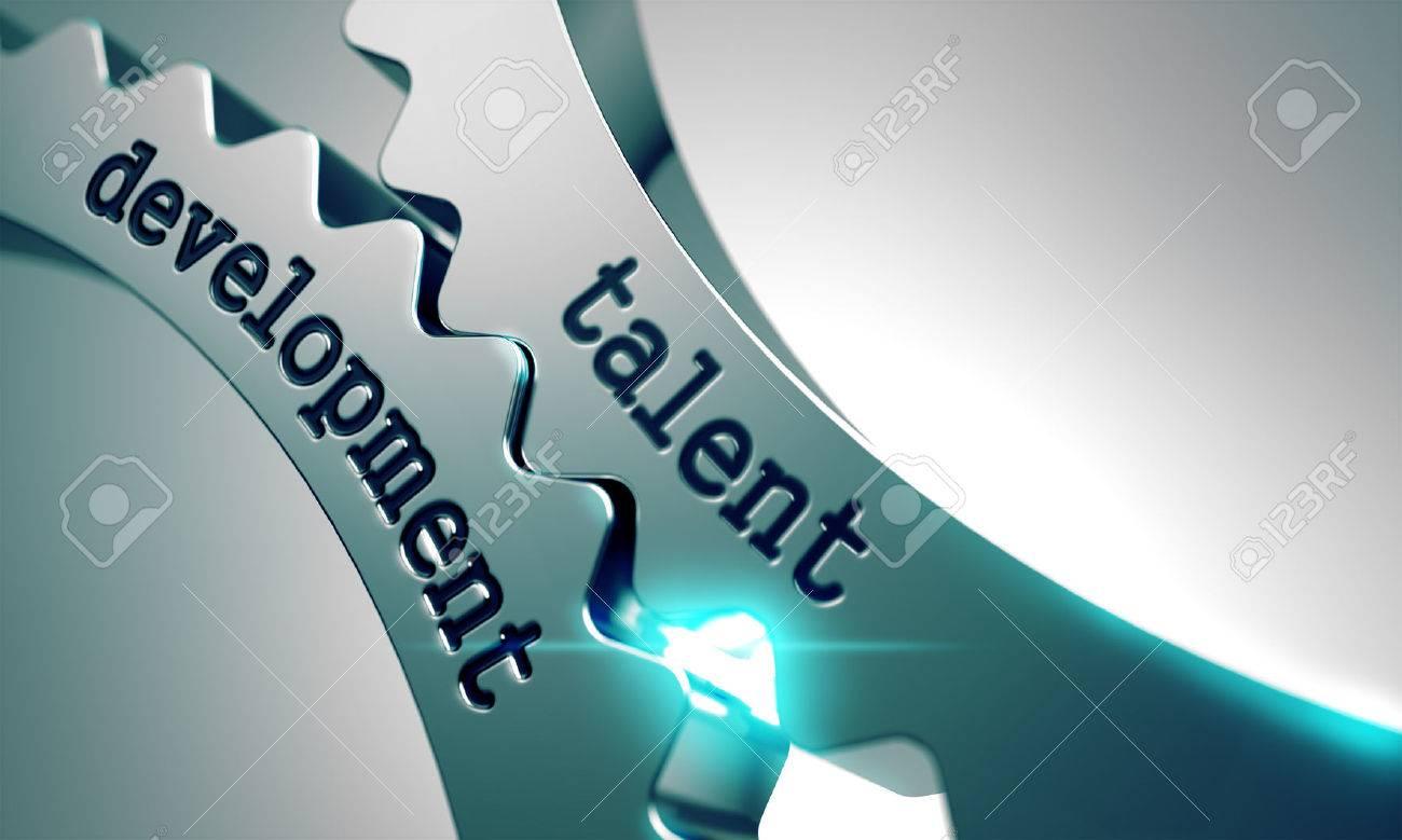 Talent Development on the Mechanism of Metal Cogwheels. Standard-Bild - 45151564