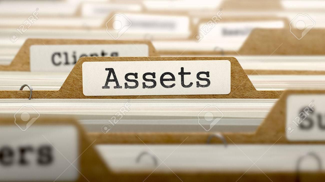 Assets Concept. Word on Folder Register of Card Index. Selective Focus. Standard-Bild - 45896821