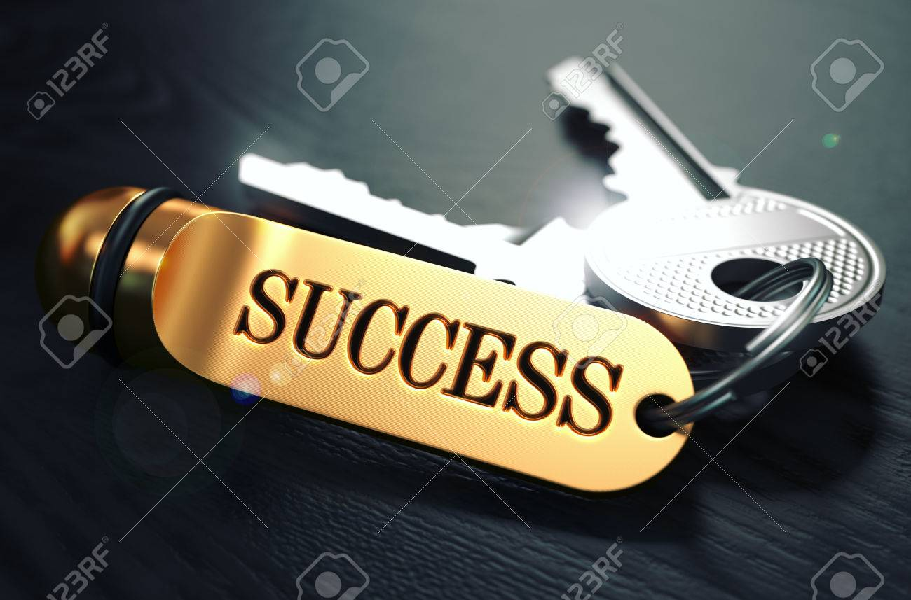 Keys to Success - Concept on Golden Keychain over Black Wooden Background. Closeup View, Selective Focus, 3D Render. Toned Image. Standard-Bild - 46378293