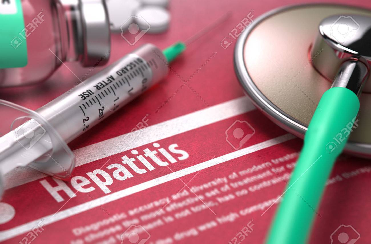 Hepatitis - Medical Concept with Blurred Text, Stethoscope, Pills and Syringe on Red Background. Selective Focus. Standard-Bild - 46378266