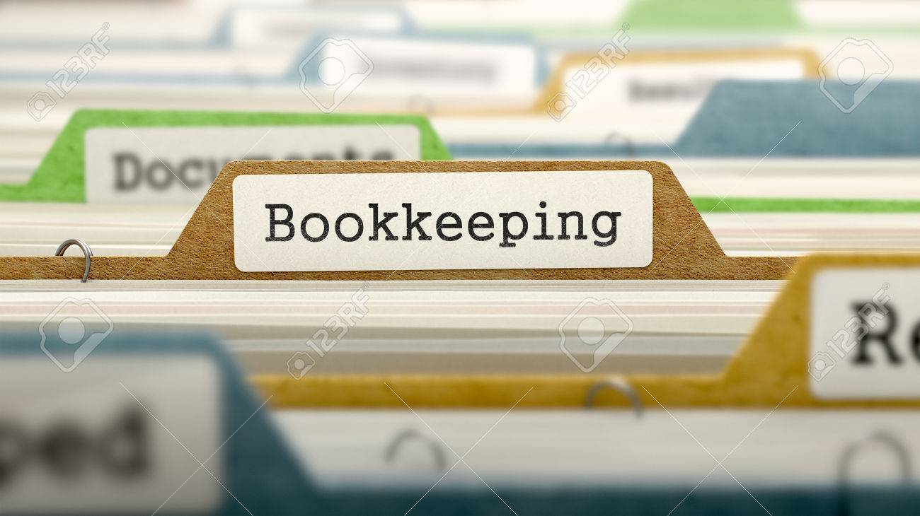 File Folder Labeled as Bookkeeping in Multicolor Archive. Closeup View. Blurred Image. Standard-Bild - 46741536