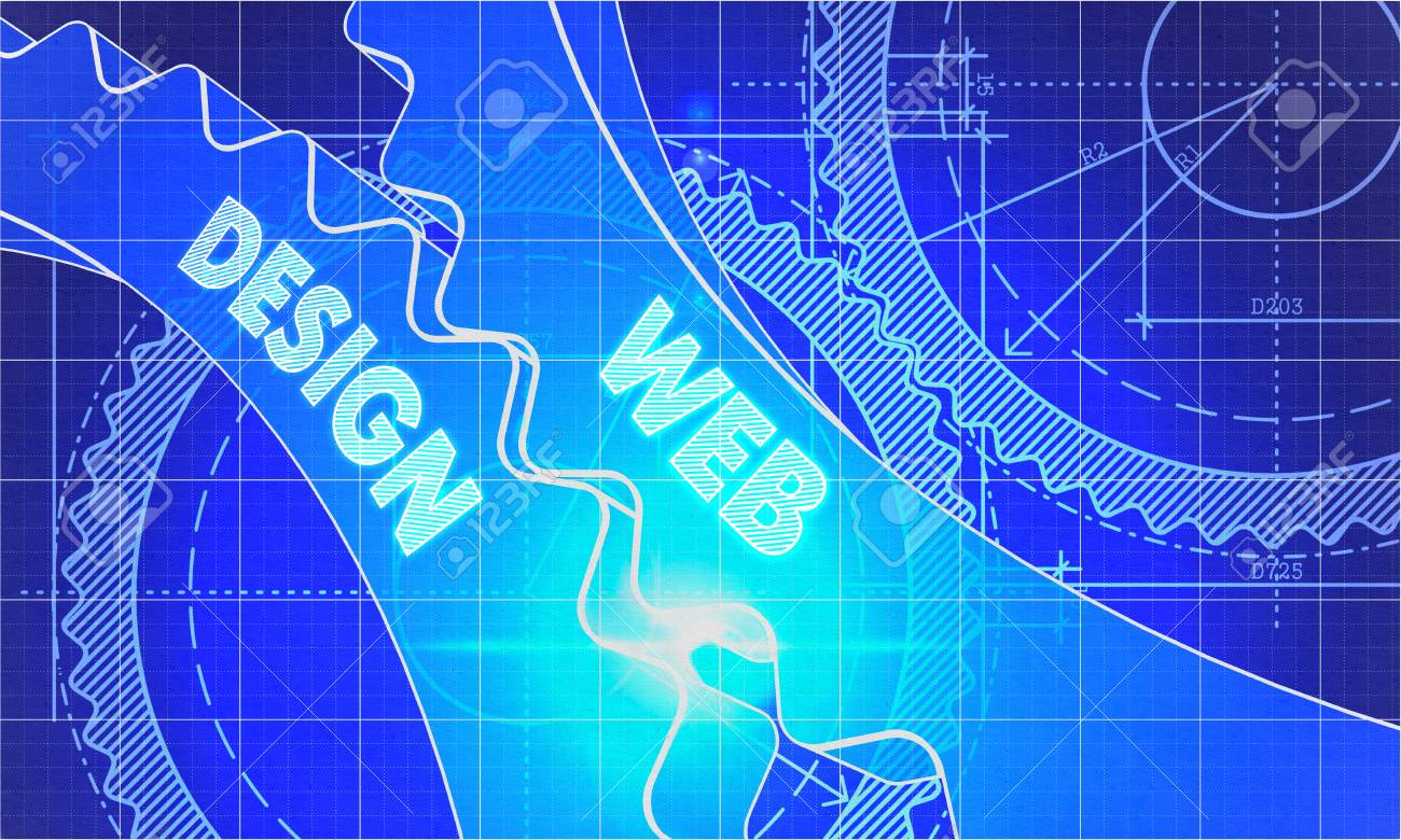 Web design concept blueprint background with gears industrial web design concept blueprint background with gears industrial design 3d illustration lens malvernweather Image collections