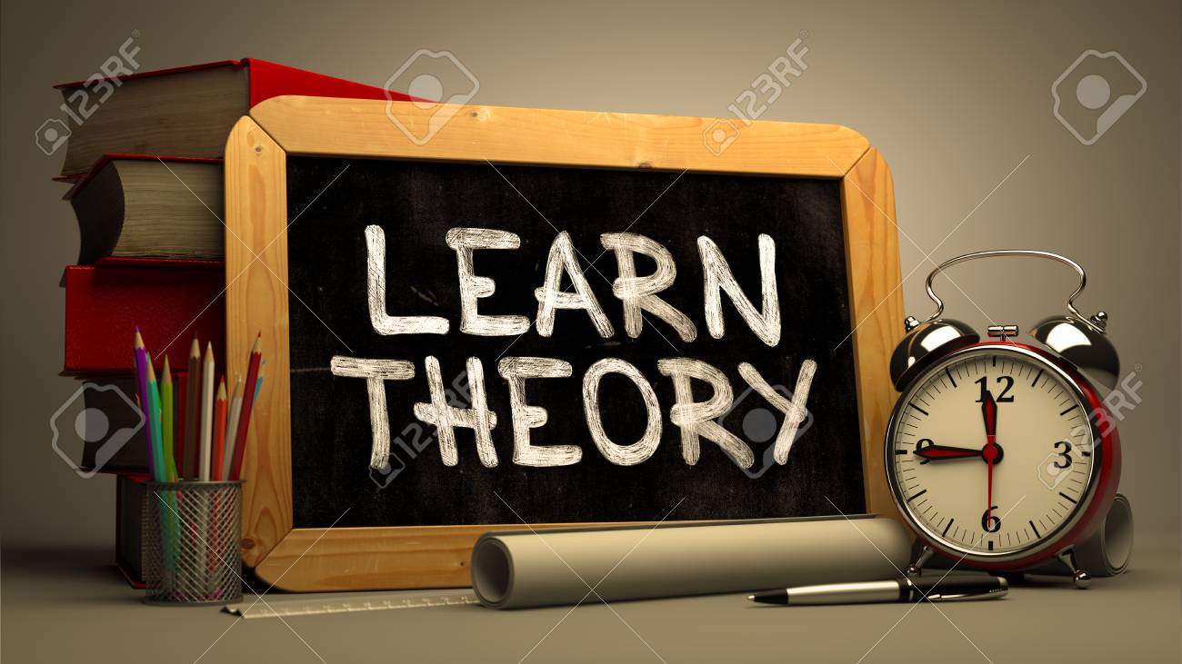 learn theory handwritten by white chalk on a blackboard composition
