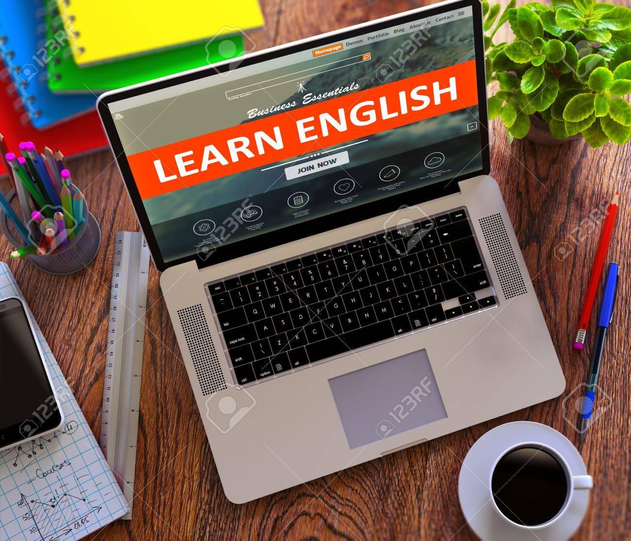 Lernen Sie Englisch Auf Laptop Bildschirm Buroarbeitskonzept