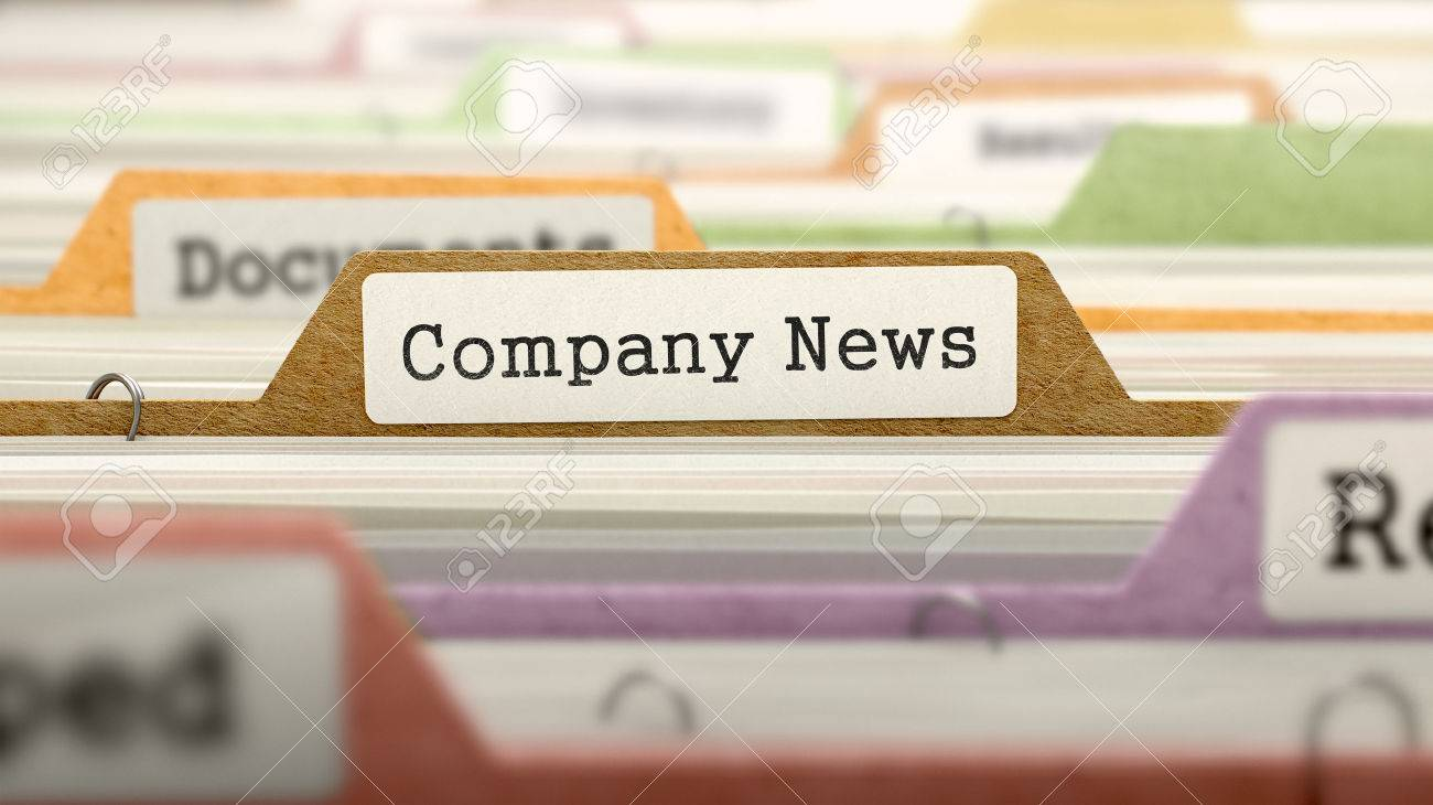 Folder in Colored Catalog Marked as Company News Closeup View. Selective Focus. Standard-Bild - 47105733