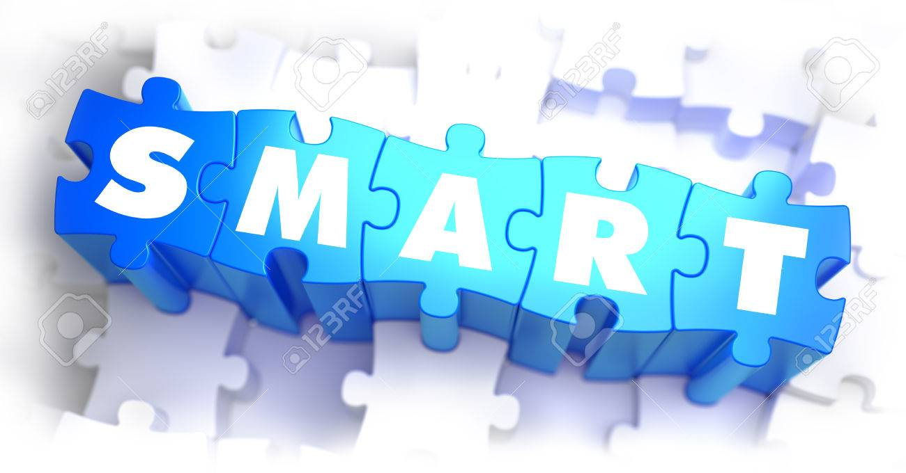 Smart White Word On Blue Puzzles On White Background 3d Render