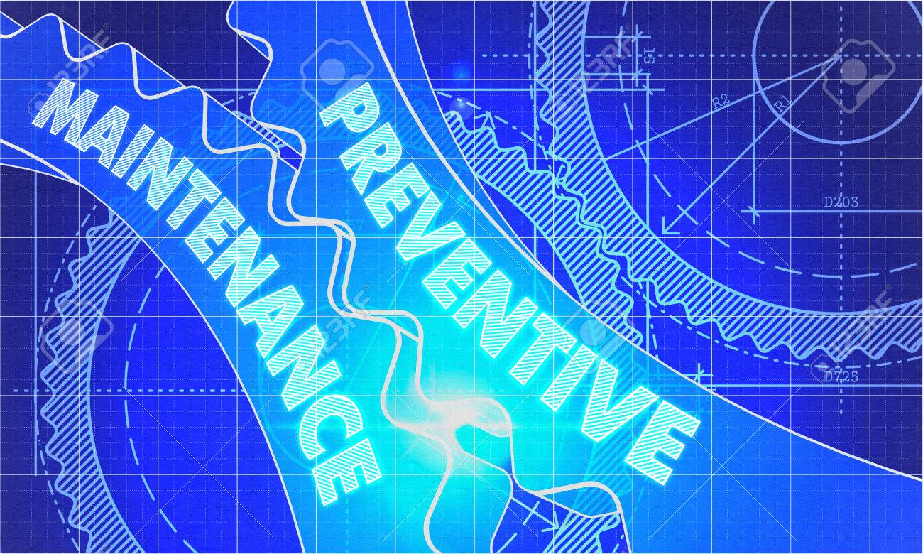Industrial Style Len preventive maintenance concept blueprint background with gears