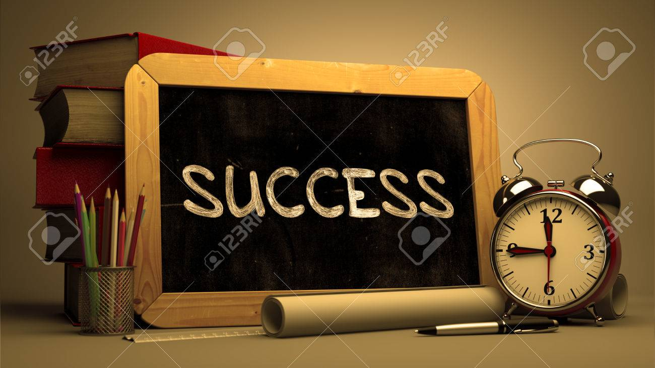 Success Handwritten on Chalkboard. Time Concept. Composition with Chalkboard and Stack of Books, Alarm Clock and Scrolls on Blurred Background. Toned Image. - 50518164