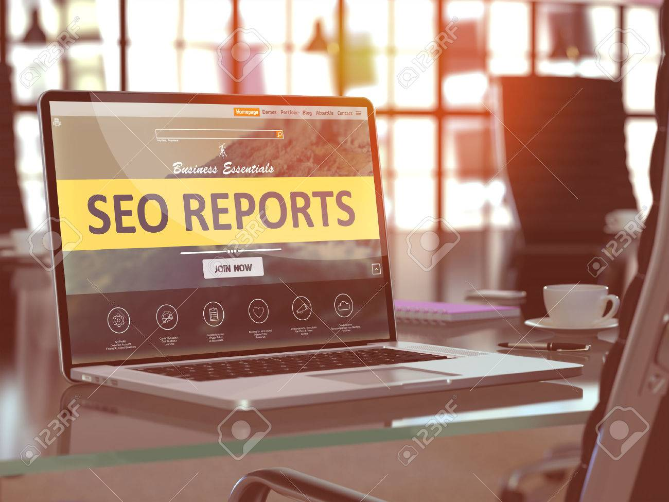 SEO - Search Engine Optimization - Reports Concept. Closeup Landing Page on Laptop Screen  on background of Comfortable Working Place in Modern Office. Blurred, Toned Image. Standard-Bild - 50904021