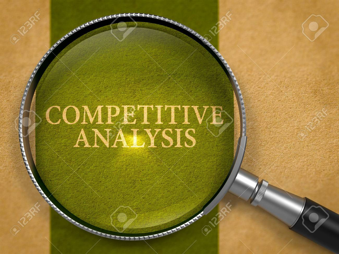 Competitive Analysis through Loupe on Old Paper with Dark Green Vertical Line Background. 3d Render. - 51713571