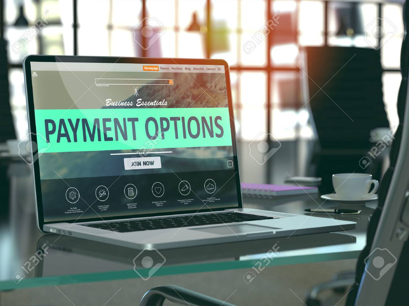 Modern Workplace with Laptop showing Landing Page with Payment Options Concept. Toned Image with Selective Focus. 3D Render. - 52892091