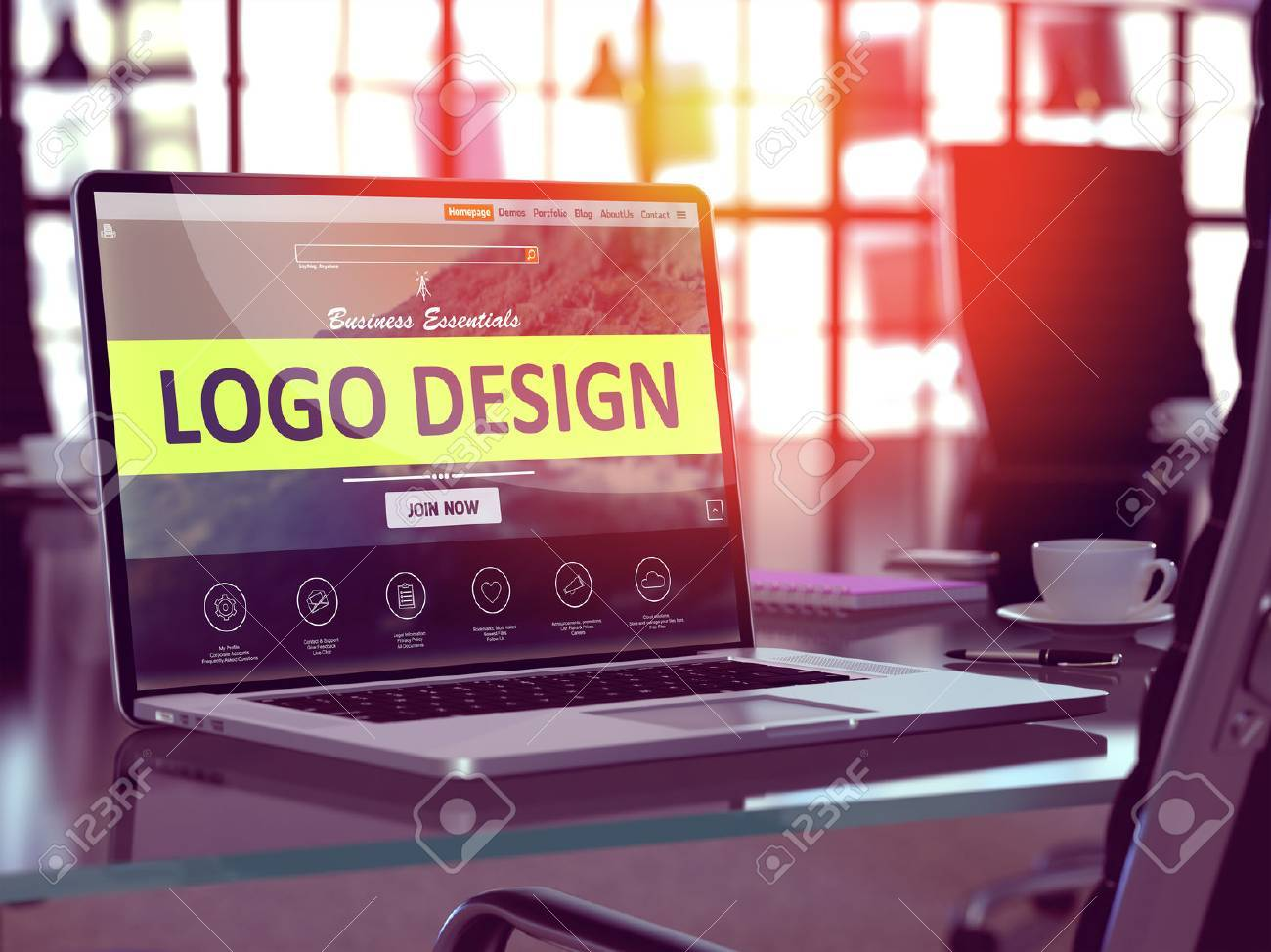 Modern Workplace with Laptop showing Landing Page with Logo Design Concept. Toned Image with Selective Focus. 3D Render. Standard-Bild - 53199858