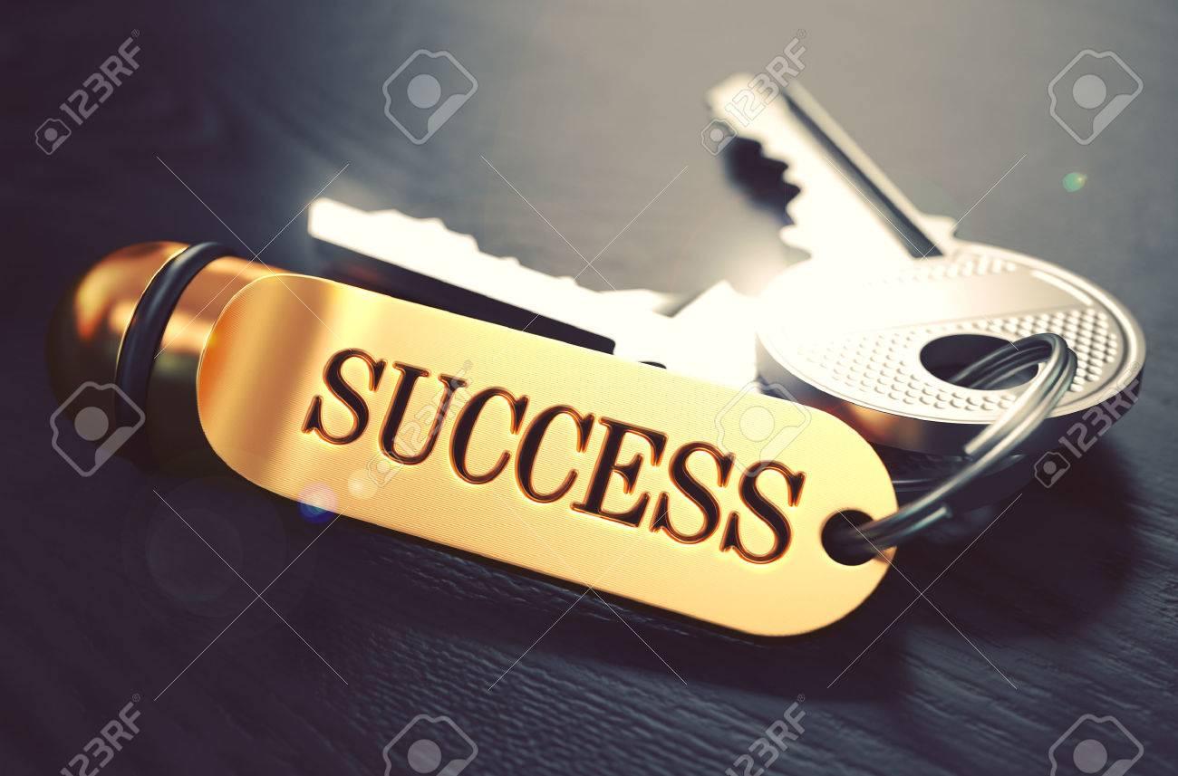 Keys to Success - Concept on Golden Keychain over Black Wooden Background. Closeup View, Selective Focus, 3D Render. Toned Image. Standard-Bild - 53290054