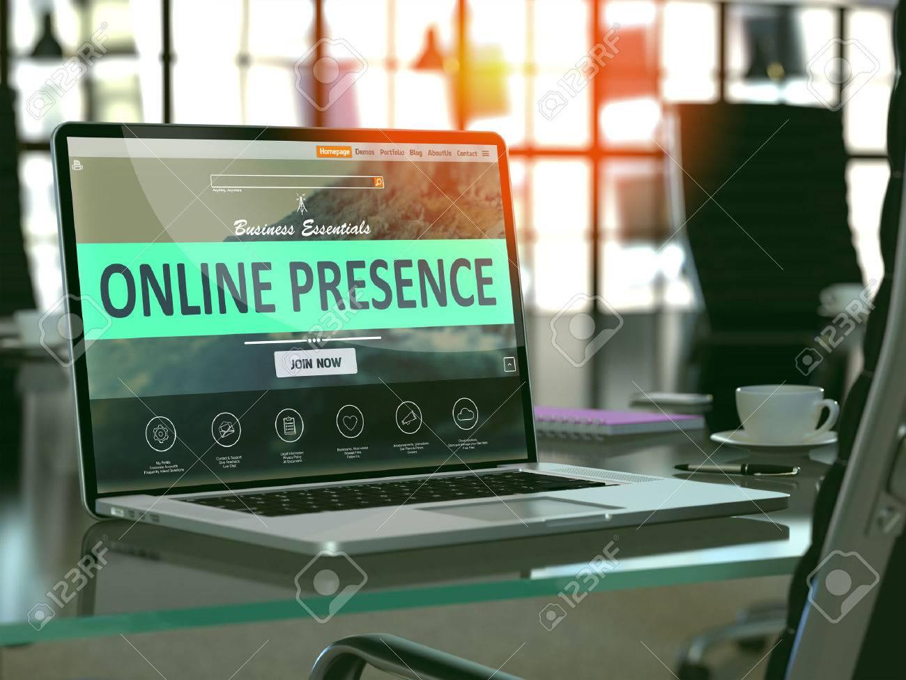 Moderner Arbeitsplatz mit Laptop zeigt Landing-Page mit Online-Präsenz-Konzept. Getönt mit Tiefenschärfe. 3D übertragen. Standard-Bild - 54087822