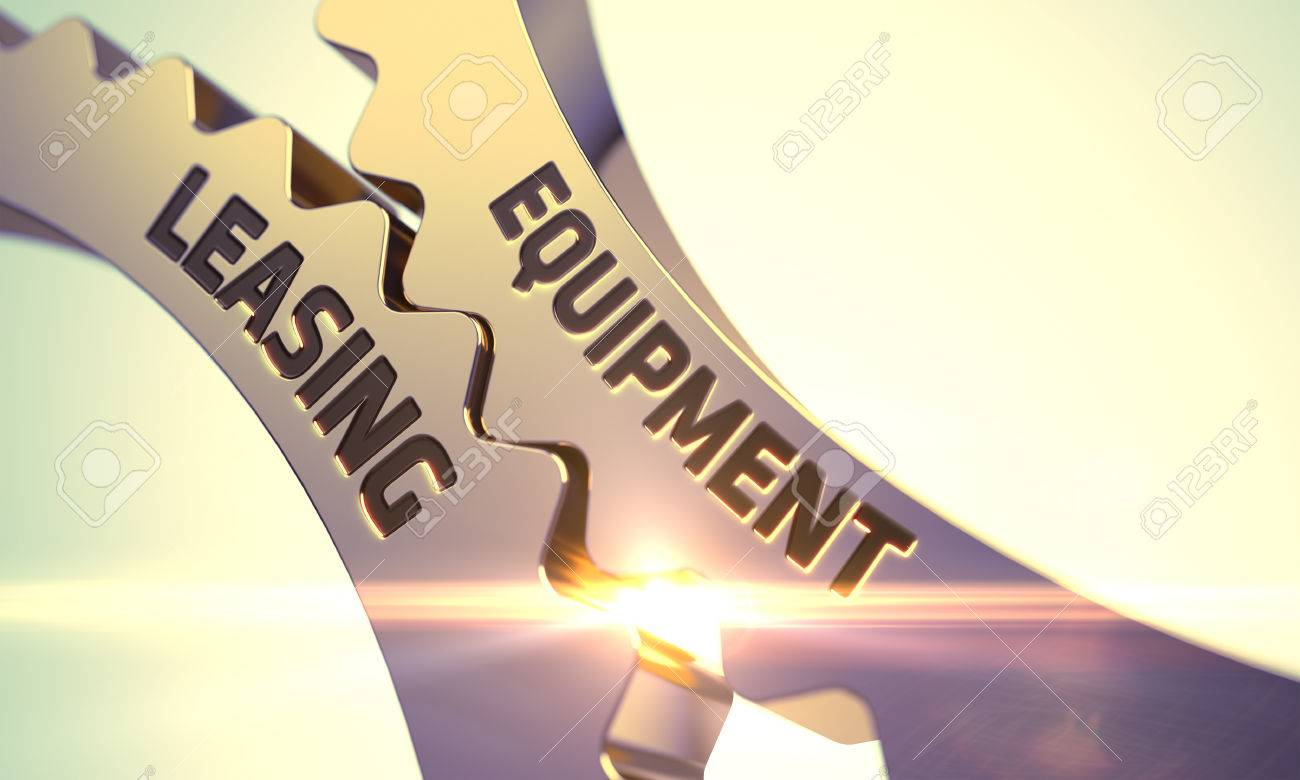 Mobilien-Leasing - Konzept. Mobilien-Leasing Goldene Cog Gears. Mobilien-Leasing - Industrial Design. Goldene Zahnräder mit Mobilien-Leasing-Konzept. 3D. Standard-Bild - 54088404
