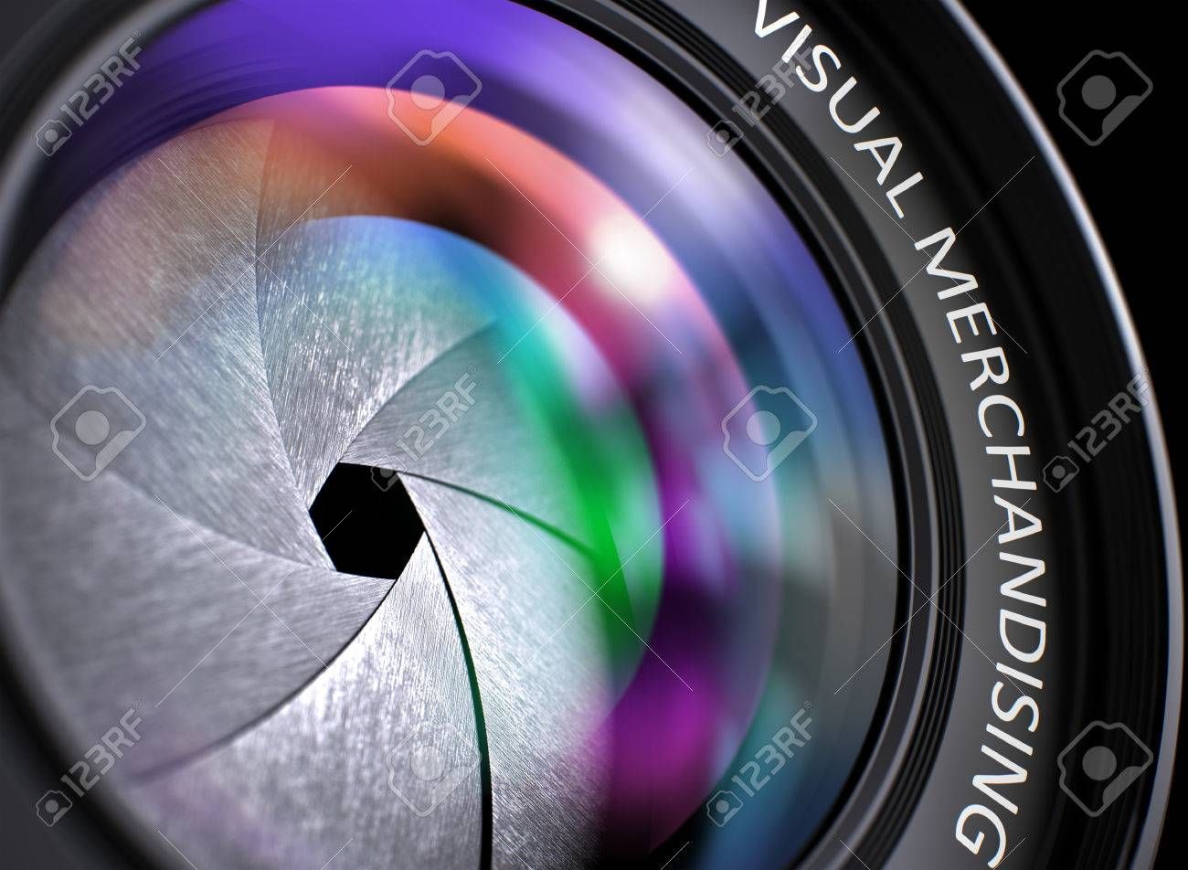Closeup View. Camera Lens with Visual Merchandising Inscription. Colorful Lens Flares on Front Glass. 3D Render. Standard-Bild - 54368618