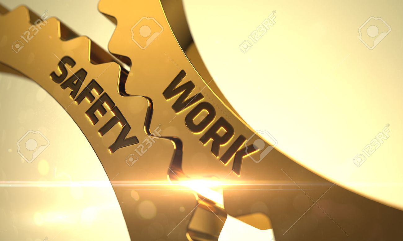 Arbeitssicherheit auf dem goldenen Zahn Gears. Arbeitssicherheit - Industrielle Illustration mit Glow-Effekt und Lens Flare. Arbeitssicherheit auf den Mechanismus von Golden Gears mit Glow-Effekt. 3D. Standard-Bild - 55178846