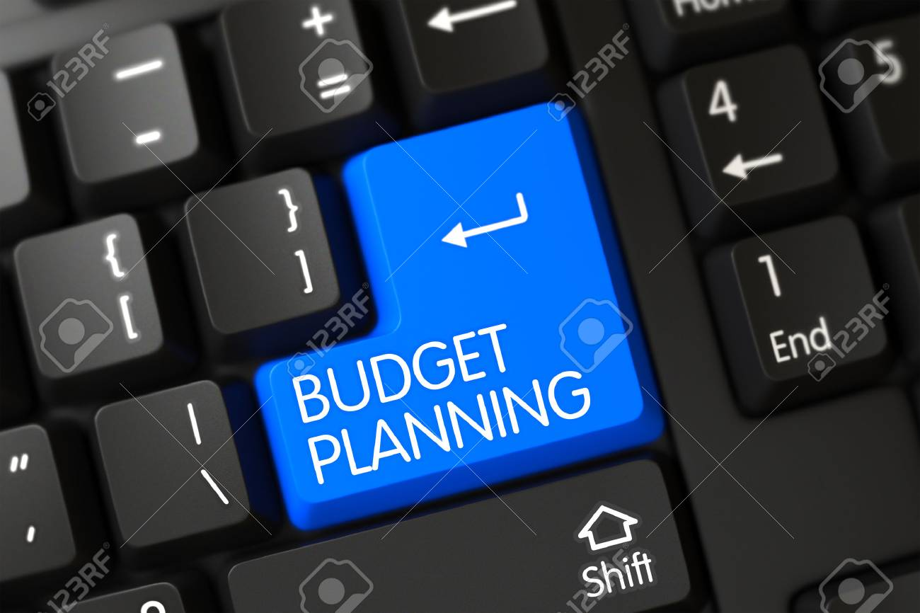 Budget Planning Concept: Modern Laptop Keyboard with Budget Planning, Selected Focus on Blue Enter Button. Budget Planning on Computer Keyboard Background. 3D Illustration. - 55706114