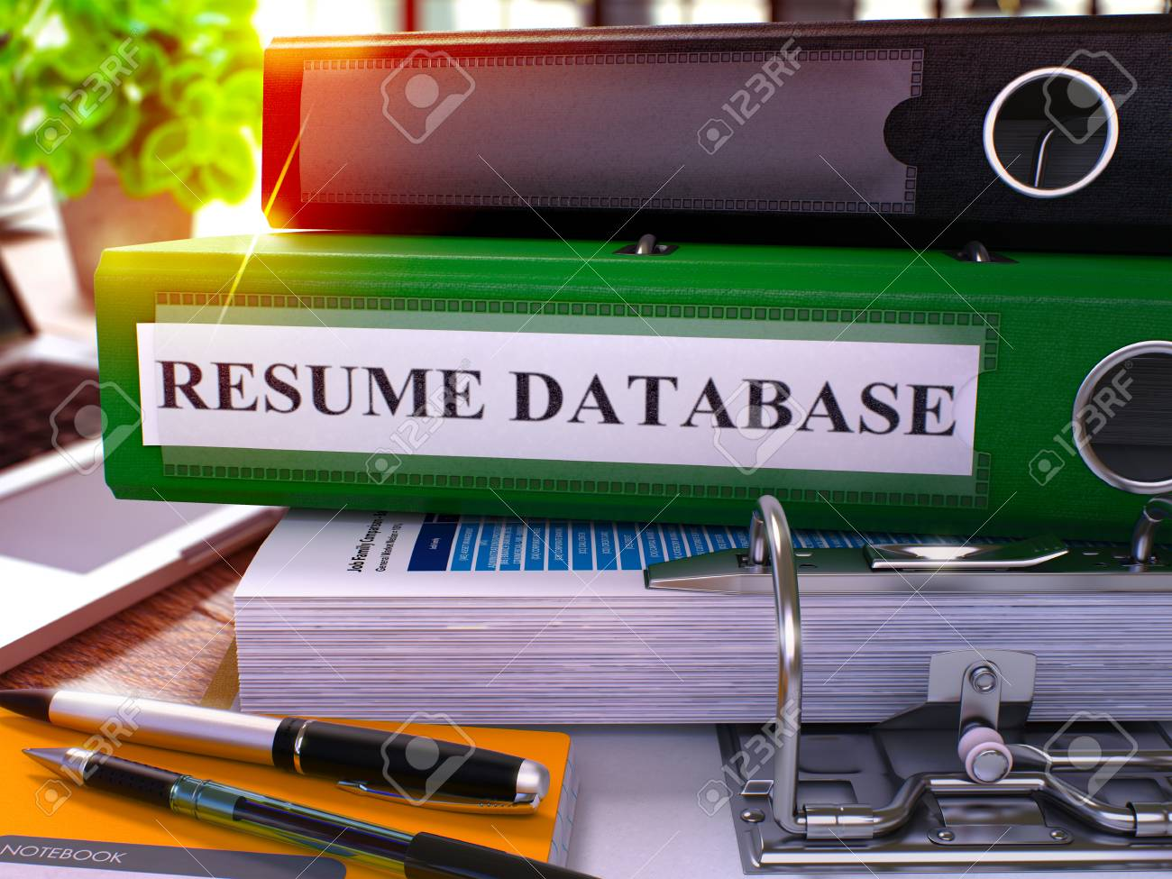 Resume Database Green Ring Binder On Office Desktop With Office